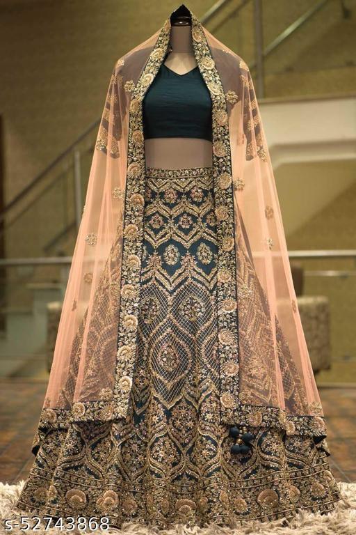 Green and Gold Designer Partywear Embroiderd Work Malay satin Silk with Net Dupatta Fabric Lehenga Choli - LC 22