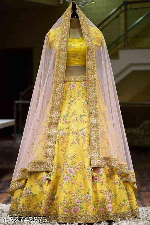 Glorious Yellow Colored With Embrodariy Work silk lehenga choli -LC130