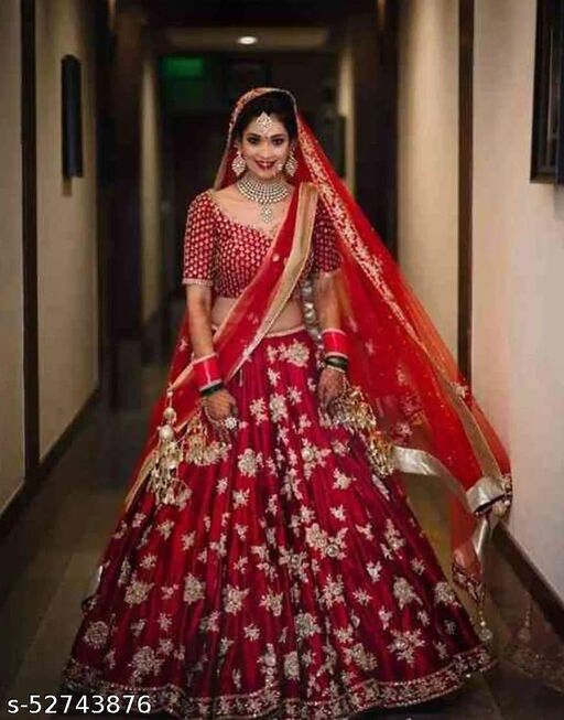 Red Colored Partywear Designer Embroidered silk Lehenga Choli-LC173