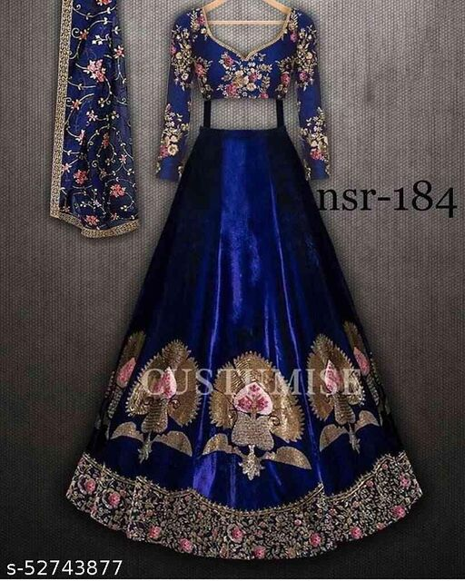 Blue Embroidered Attractive Party Wear Lehenga LC--230