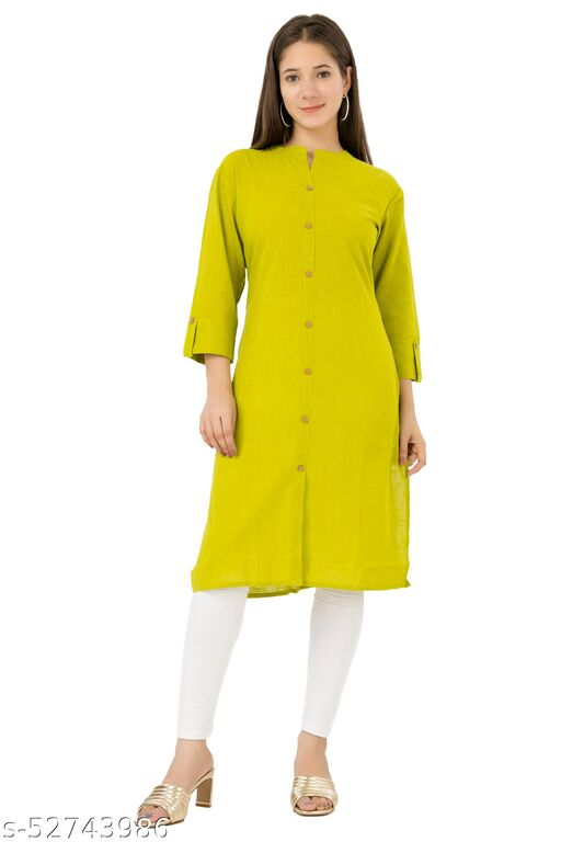 SKARLEY Cotton Blend Straight Kurta For Women (Green)