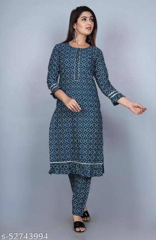 SKARLEY Cotton Blend Foil Print Straight Kurta For Women (Blue)
