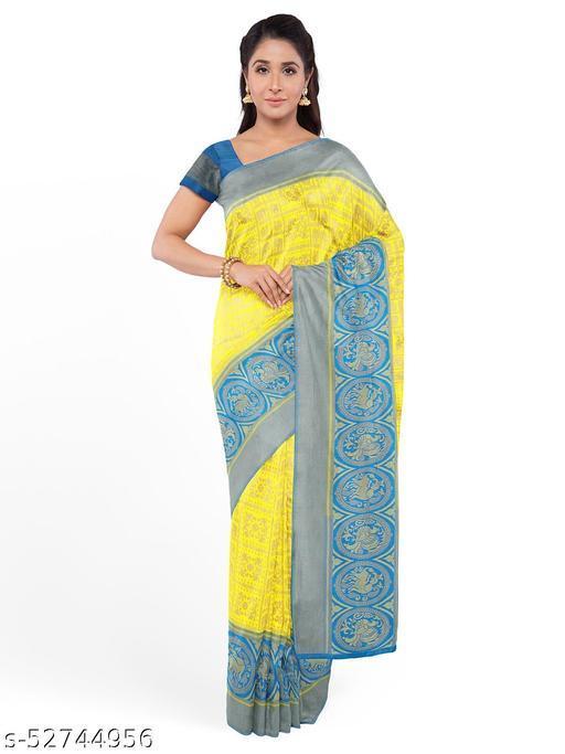 AR Saree Women's Litchi Silk Saree With Blouse Piece