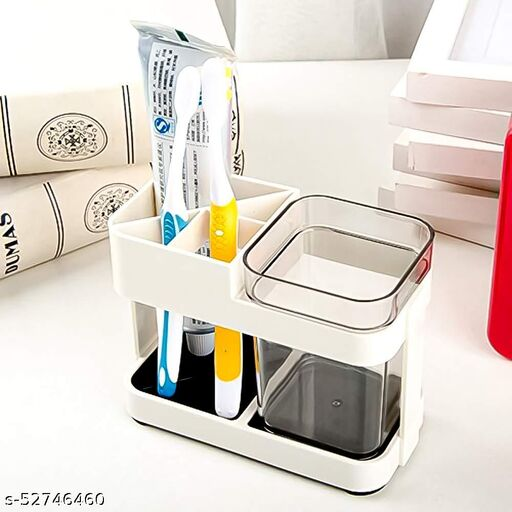 HR INTERNATIONAL 1 Cup Plastic Toothbrush Holder Toothpaste Stand Bathroom Storage Organizer With 4 Slots for Toothbrushes Shaving kit