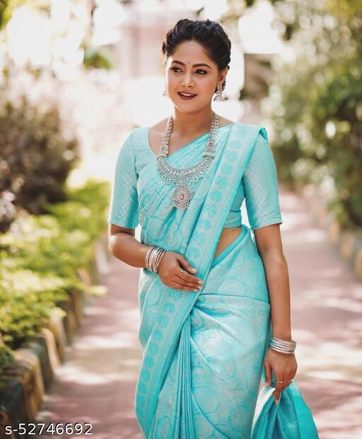 AR Saree Women's Soft Litchi Silk Saree With Blouse Piece