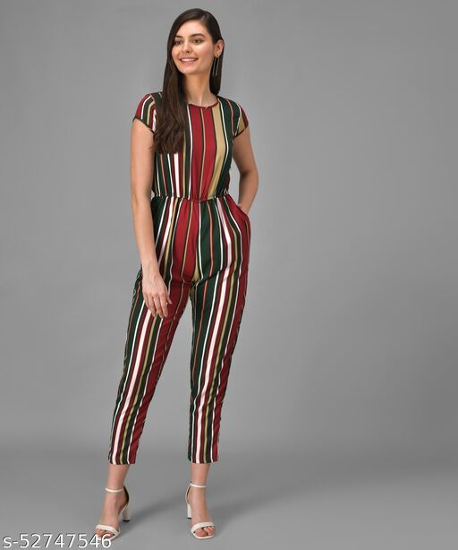 Vivient Women Multicolour Stripe Casual Jumpsuits