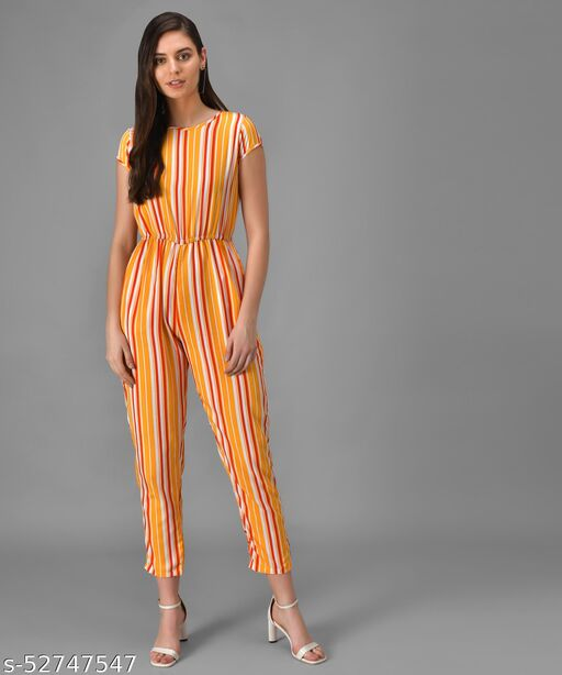Vivient Women Yellow n Red Stripe Casual Jumpsuits