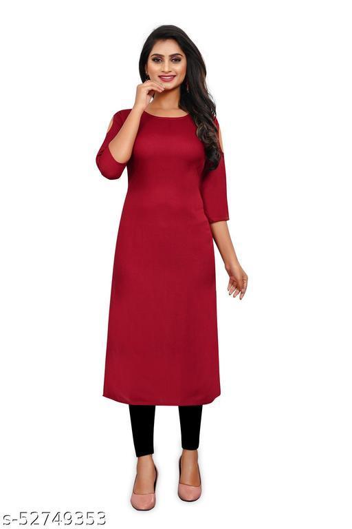 Niyati Fashion  Women Solid Rayon Straight Kurta