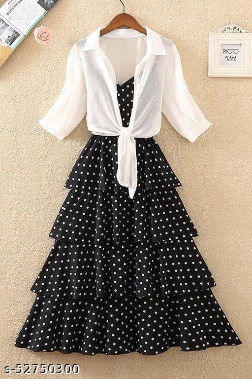 Manggo A-Line Layered Dress With Shrug