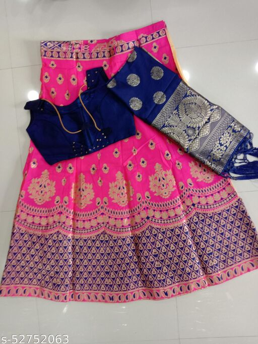 Chanderi Silk Designer Party And Wedding Wear Lehenga With Blouse And Chunni
