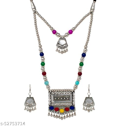 Two layered Multi color German Silver Oxodized Necklace with Earring for Women