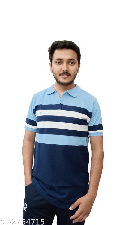 RECHARGE Striped Men Polo Neck Blue T-shirt