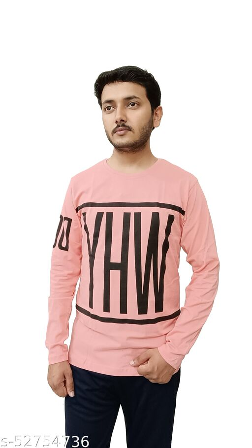 RECHARGE Solid Men Round Neck Pink T-shirt