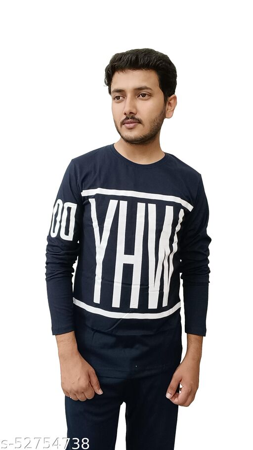RECHARGE Solid Men Round Neck Navy Blue T-shirt