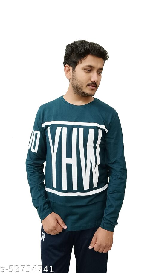 RECHARGE Solid Men Round Neck Teal T-shirt