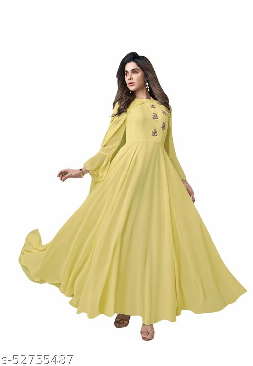 SOLID YELLOW GEORGETTE WOMEN GOWN