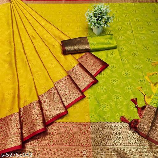 GOLDOLL FAB® Women's Banarasi Silk Saree With Blouse Piece.