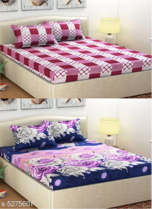 Ella Gorgeous Polycotton 90 X 90 Double Bedsheets Combo (Pack Of 2)