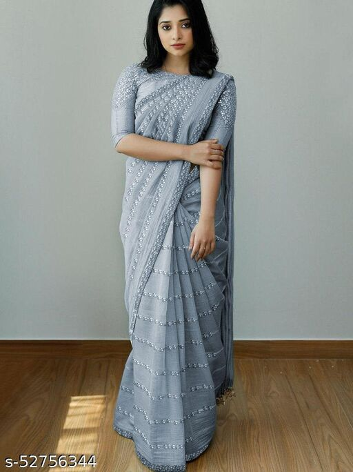 Grey Organza Silk Sequence Embroidery Worked Saree With Blouse