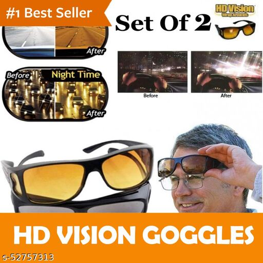 HD Vision Day and Night Unisex HD Vision Goggles Anti-Glare Polarized Sunglasses Men/Women Driving Glasses UV Protection All Bikes&Car-Pack of 2 Goggles