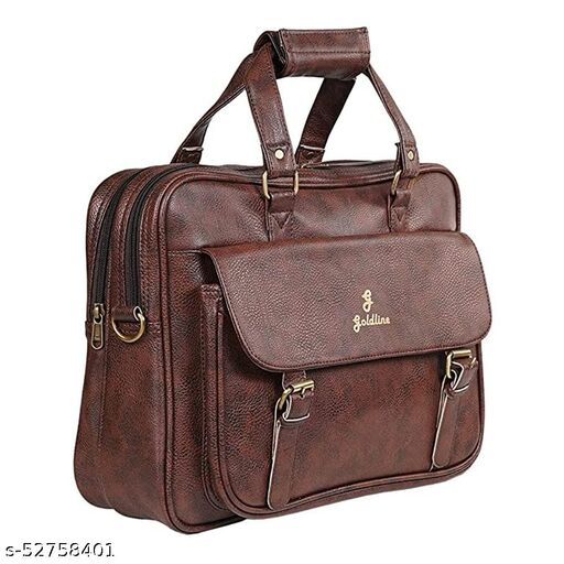 GOLDLINE Shoulder Bag 20L Laptop Bag/Messenger Bag/Office Bag/Marketing Bag/Executive Bag/Leatherette Satchel with Removable Shoulder Strap and Zippered Pockets Inside (41x12x31cm - Brown)