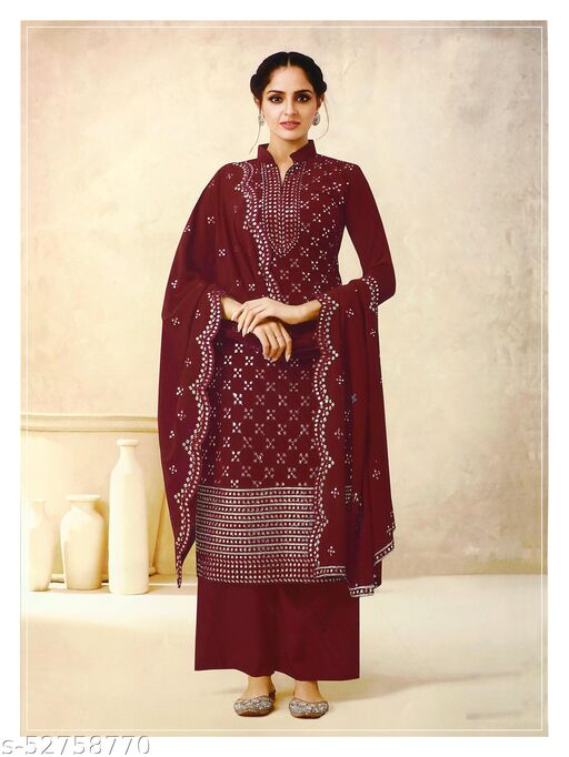 Storearc Women's Georgette Maroon Embroidered Semi Stitched Salwar Suit Palazzo Material
