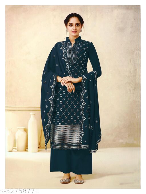 Storearc Women's Georgette Blue Embroidered Semi Stitched Salwar Suit Palazzo Material