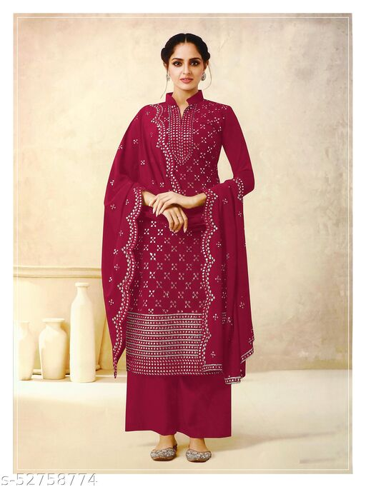Storearc Women's Georgette Red Embroidered Semi Stitched Salwar Suit Palazzo Material