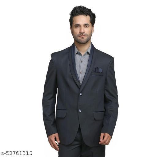 Touch Fitt 2 Button Regular Fit Plain Blazer for Men Available in 6 Size (Color-Black)