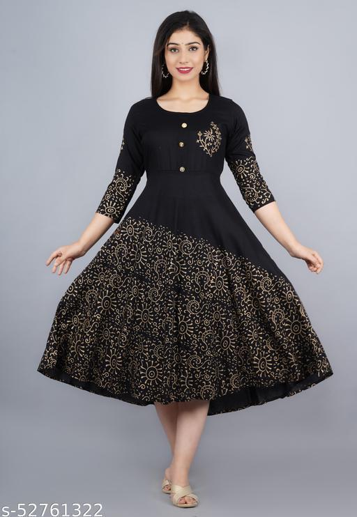 Black Hand Block Gown (Dress)