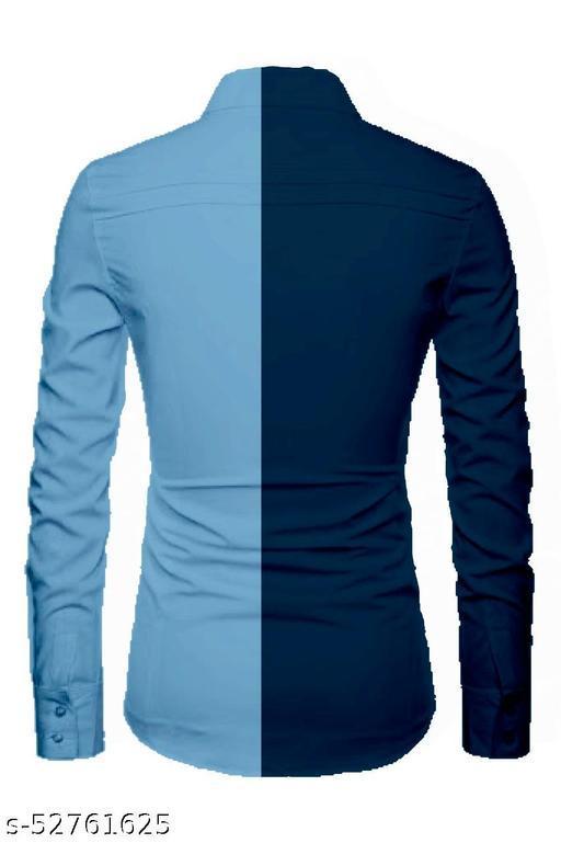 aque blue color unstitched shirt for men