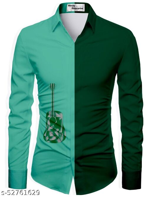 green color unstitched shirt for men
