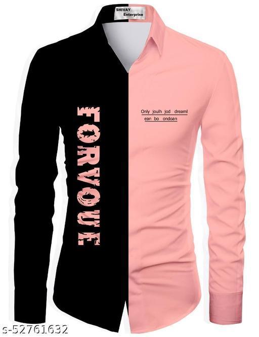 peach color unstitched shirt for men