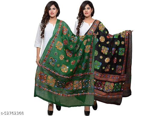 Rajasthani Stylish Cotton Embroidered Mirror Work Combo Dupatta For Women's