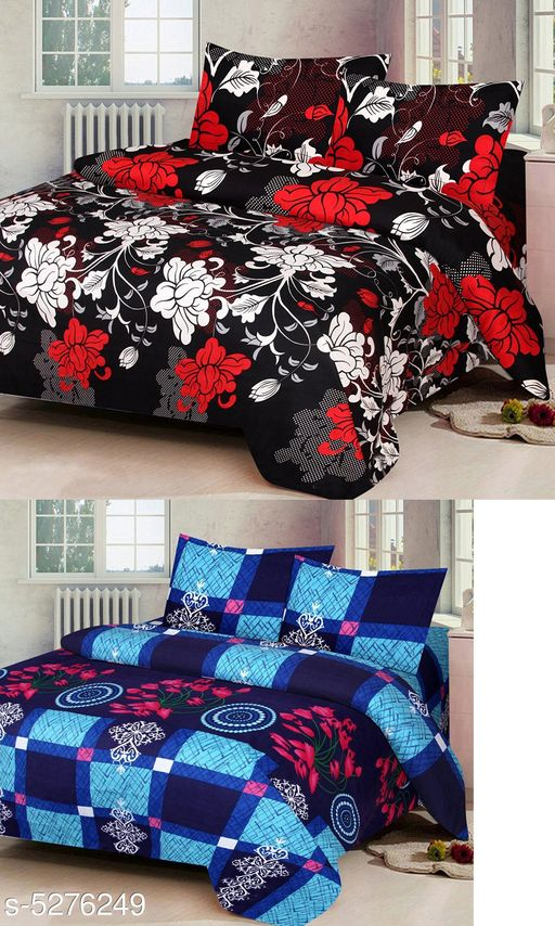 New Trendy Polycotton 90 x 90 Double Bedsheets Combo