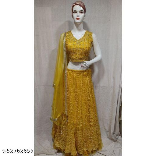 Fully Stitched M-L Size Readymade Women  Yellow Embroidered Georgette Lehenga Choli