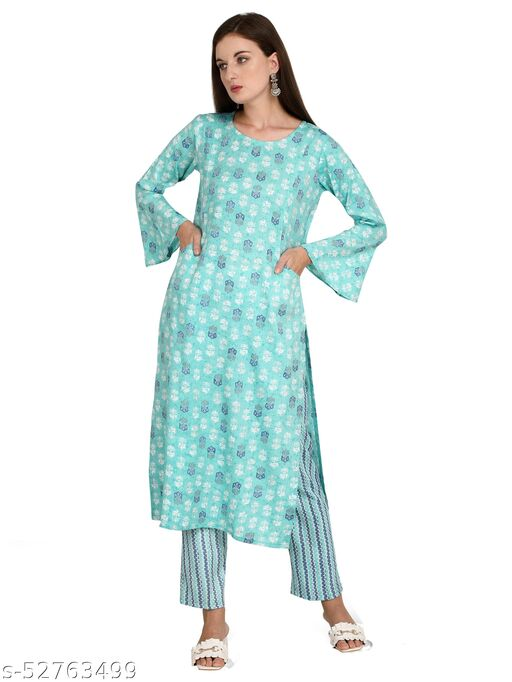 Turquoise Color Rayon Fabric Fully Stitched Printed Straight Kurti with Pant for Women & Girls on Jeans Palazzo or Skirt (Plus Size Upto 2XL)