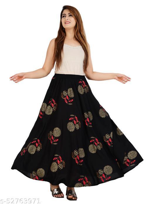 Flora Printed Black Skirt