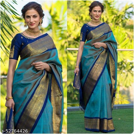 two tone shade taj design blue color litchi silk saree