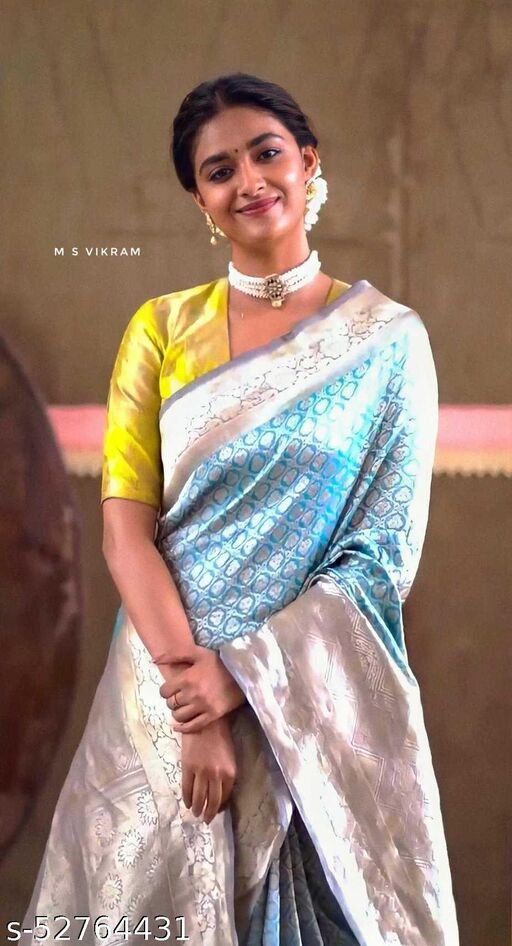 attractive aqua blue color banarasi silk saree