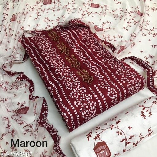 Stylish Cotton Bandhani Suit with Sparrow Printed Bottom & Dupatta
