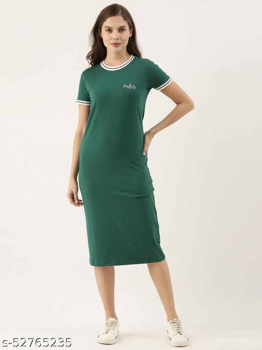 BEVERLY BLUES Women's Green Short Sleeves Knitted Dress