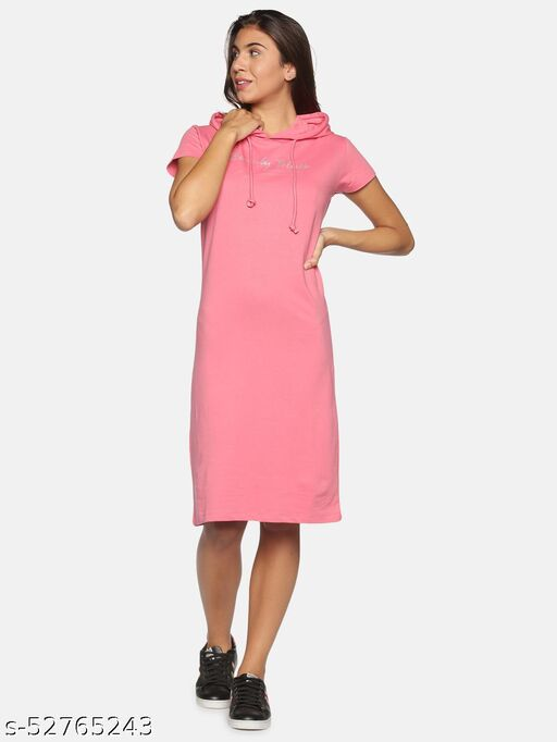 BEVERLY BLUES Women's Pink Short Sleeves Knitted Dress