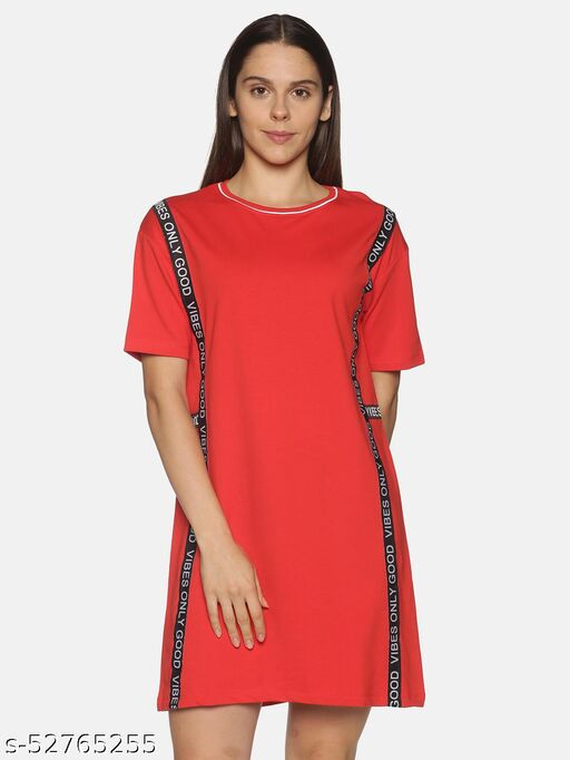 BEVERLY BLUES Women's Short Sleeves Above Knee Red Dress