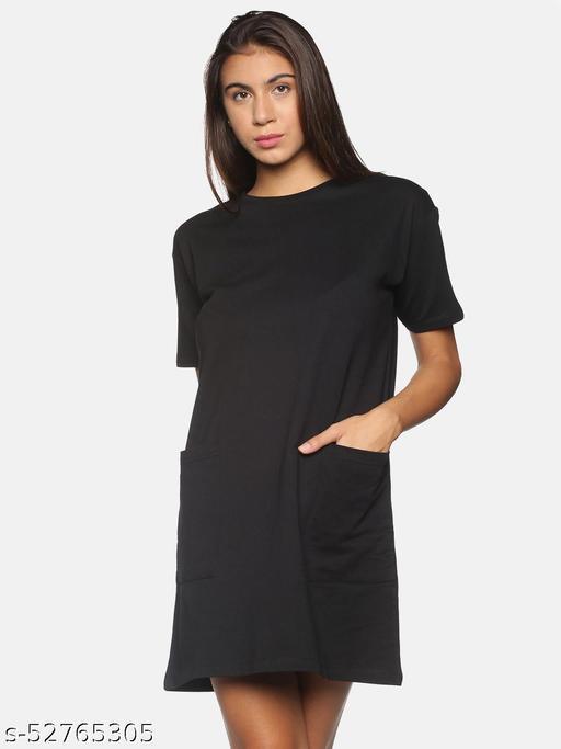 BEVERLY BLUES Women's Black Short Sleeves Knitted Dress