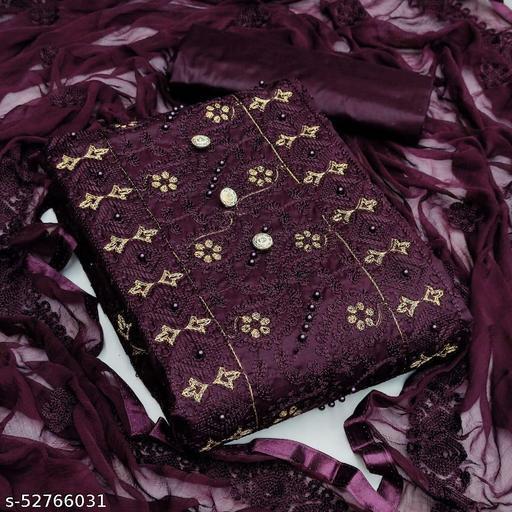KRISHNAM FASHION Pure Heavy Cotton Embroidered Salwar Suit Material  (Unstitched)(Purple)