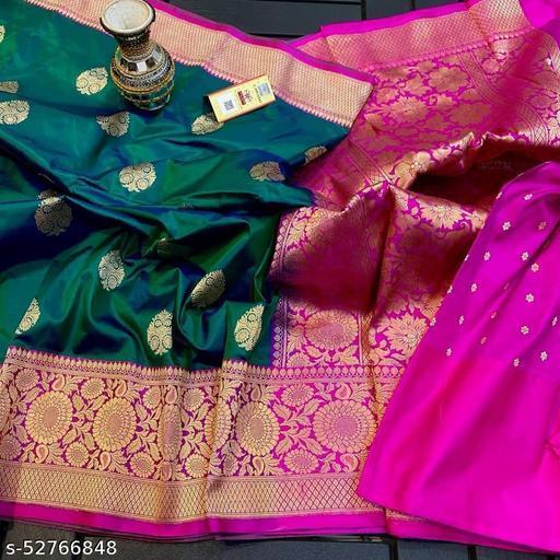 Allover checks butta sadi with Kanchi border Sarees Contrast pallu and blouse art Silk Saree