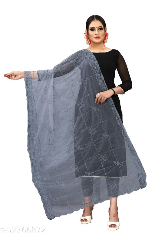 Shivaay Tex Girl's And Women's Net Embroidered Dupatta
