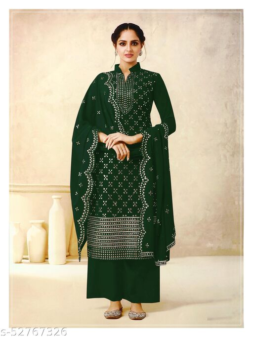 Classy Fashion Women's Georgette Green Embroidered Semi Stitched Salwar Suit Palazzo Material