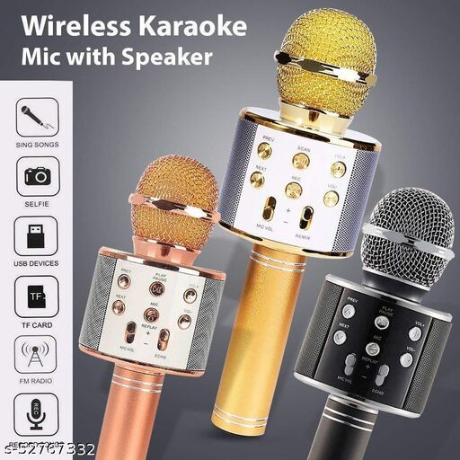 Marvain WS-858 Wireless Bluetooth Karaoke Mic with inbuilt speaker|Audio Recording|Echo Adjustment|Voice changer|FM Radio| and Many More Functions